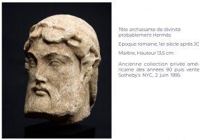Tête archaisante de divinité probablement Hermès Epoque romaine, 1er siècle après JC Marbre, Hauteur 13,5 cm Ancienne collection privée américaine des années 90 puis vente Sotheby's NYC, 2 juin 1995